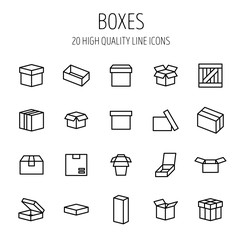 Set of box icons in modern thin line style.