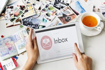Online Message Blog Chat Communication Envelop Graphic Icon Conc