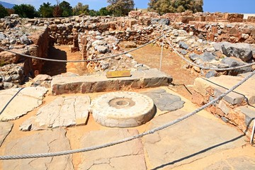 Ancient offering table at the Minoan Malia ruins archaeological site, Malia, Crete.