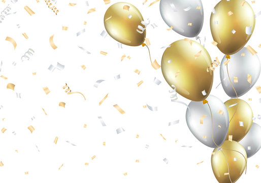 Festive background with gold and silver balloons Vector