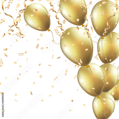 quotfestive background with gold balloons and confetti vector