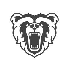 Bear Logo for sport club or team. Animal mascot head logotype. Template. Vector illustration.