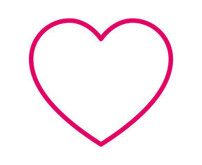 Thin line heart / romantic love pink line art icon for dating apps and websites