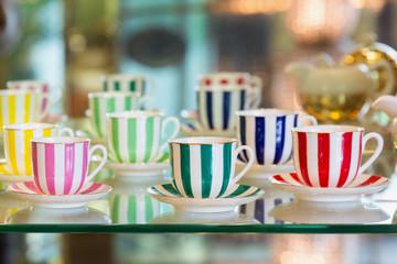 Colorful porcelain tea cups