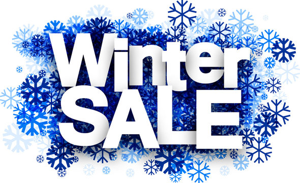 Winter sale background with snowflakes.