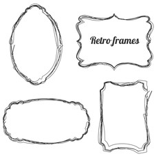 Set of hand drawn retro sketchy frames, isolated on white background. Vector illustration.
