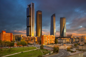 Madrid.Image of Madrid, Spain financial district with modern skyscrapers during sunrise.
