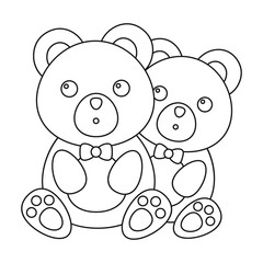 Bears icon in outline style isolated on white background. Romantic symbol stock vector illustration.