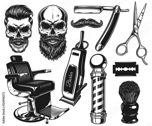 "Vintage Barber Clipart ""Set of vi..."