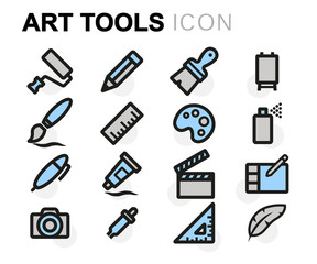 Vector flat art tools icons set