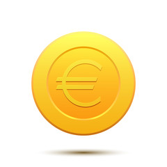 Golden coin with Euro symbol