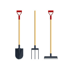 Set pitchfork shovel spade rake flat tool icon logo vector illustration. Farming equipment. Garden instruments isolated on white background.