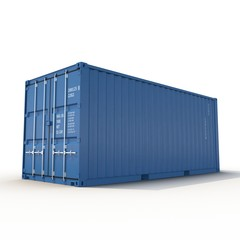 Blue freight shipping container isolated on white. 3D illustration