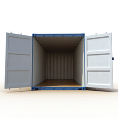 Opened empty blue freight shipping container isolated on white. 3D illustration