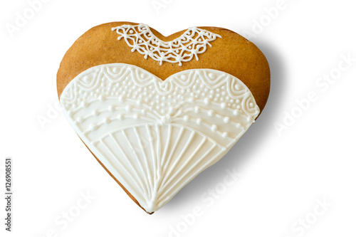 Wedding dress heart cookie biscuit with white glaze small surprise