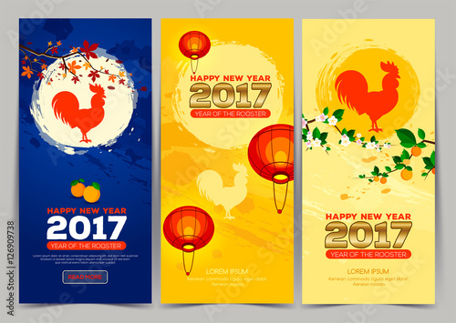 three vertical banner chinese new year 2017 celebration new year background chinese spring festival