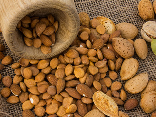almonds in their skins. almonds in a mortar. apricot seeds
