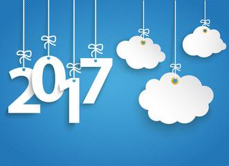 2017 mit hängende Wolken auf einem blauen Hintergrund Fotomurales