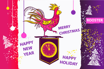 2017 Chinese New Year of the Rooster. Vector Illustration with xmas tree. Hand drawn illustration rooster. Trendy color image for greeting , congratulations and invitations.