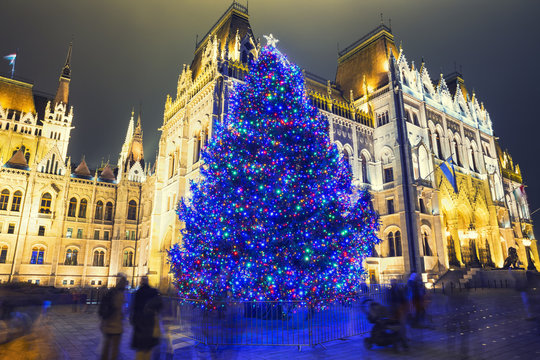 Christmas Tree In Front Off Parliament Building, At Kossuth Squa