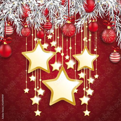 weihnachten gefrorene tannenzweige mit roten weihnachtskugeln und goldenen sternen stockfotos. Black Bedroom Furniture Sets. Home Design Ideas