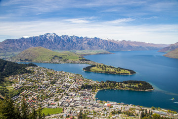Aerial view of Queenstown and The Remarkables in South Island, N