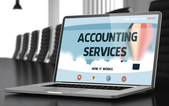 Landing Page of Laptop with Accounting Services Concept. 3D.