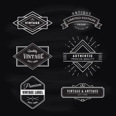 Set vintage label blackboard retro design banner vector