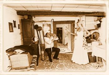 Wedding couple in retro style