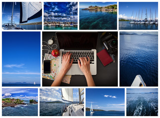collage with yachts, boats. Nautical concept