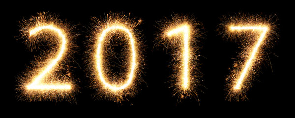 2017 firework sparkler bright glowing new years