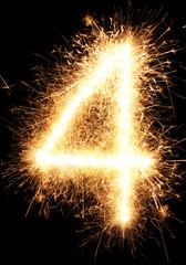 Sparkler firework light number 1 isolated on black