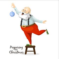 Santa Claus decorates a Christmas tree toy