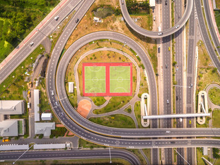 Top view over the road and highway, Aerial shot of h