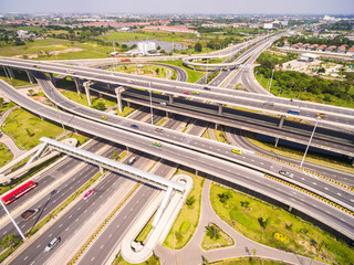 Aerial view over the road and highway, Aerial shot of highway in