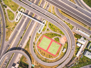 Top view over the road and highway, Aerial shot of highway inter