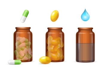 Pills Capsules in Medical Glass Bottle Set. Vector