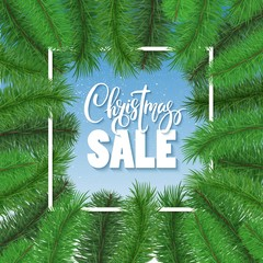 Christmas sale background, banner. XMAS tree frame, border.