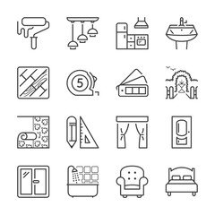 home decor thin line icons