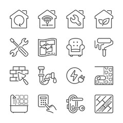 home improvement thin line icons