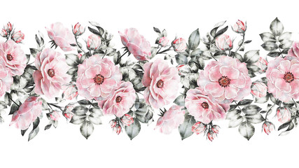 isolated Seamless pattern border with flowers, leaves, vintage watercolor floral pattern, rose, pastel color, seamless floral strip, seamless band for cards or fabric, pattern, wild flower, bud, leaf