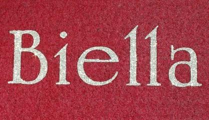 biella Written of an Italian City with glitter font