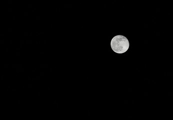 moon on a dark night without stars