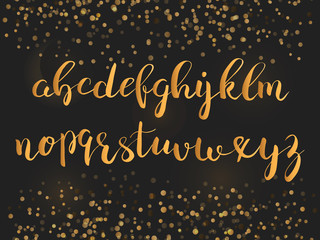 Calligraphic brushpen font with sparkles