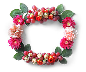 Beautiful flowers wreath isolated on white