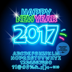 Vector colorful neon Happy New Year 2017 greeting card with set of letters, symbols and numbers. File contains graphic styles