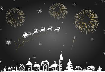 winterliche Stadt mit Feuerwerk