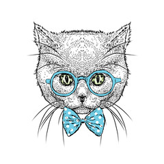 Beautiful cat in glasses and tie. Vector illustration for a card or poster. Illustration for prints on clothes. Design. Cute kitten.