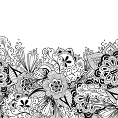 Doodle flowers and leaves invitation card. Template flowers frame design for card. Decorative hand drawn vector element border.
