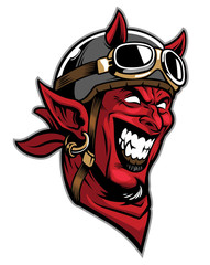 devil head rider wearing an old helmet